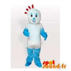Pupazzo di neve mascotte blu e bianco con una cresta rossa - MASFR006355 - Umani mascotte