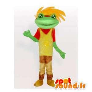 Maskot fargerik frosk, med hår