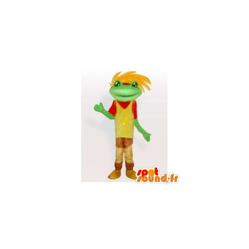 Colorful frog mascot with hair - MASFR006359 - Mascots frog