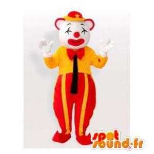 Μασκότ κόκκινο και κίτρινο κλόουν. τσίρκο φορεσιά