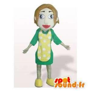 Maskotkvinna i grön outfit med ett gult förkläde - Spotsound