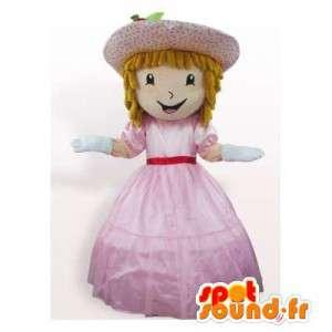 Mascot princesa en vestido rosa