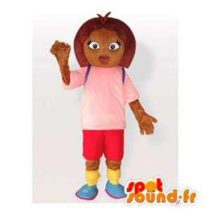 Skolepige maskot i lyserød og rød tøj - Spotsound maskot kostume