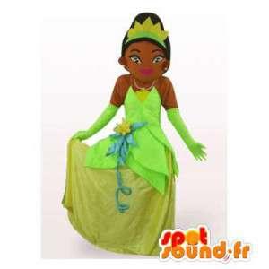 Mascotte de princesse en robe verte. Costume de princesse
