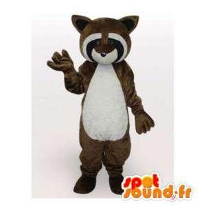 Mascot bruin wasbeer, zwart en wit
