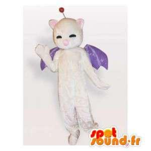 Isbjørnemaskot med lilla vinger - Spotsound maskot kostume