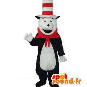 Maskot svart bjørn og hvit dress. Panda Suit - MASFR006399 - bjørn Mascot