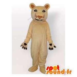 Mascotte de tigre beige. Costume de tigre