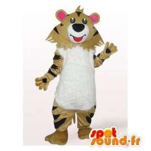 Mascotte de tigre beige, blanc et noir. Costume de tigre