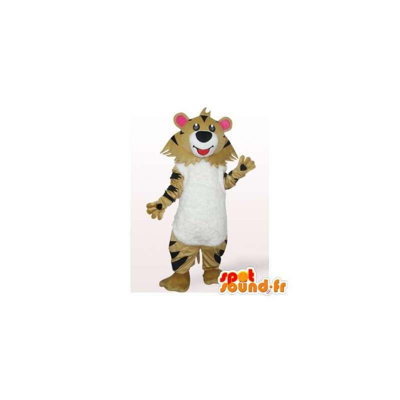Tiger Mascot beige, white and black. Tiger costume - MASFR006404 - Tiger mascots