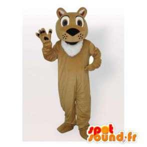 Mascotte de tigre beige et blanc. Costume de tigre - MASFR006405 - Mascottes Tigre