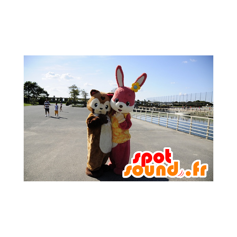 Pink rabbit mascot and chestnut pig - MASFR20339 - Mascots pig