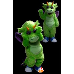 Vihreä ja violetti lohikäärme maskotti - MASFR20346 - Dragon Mascot