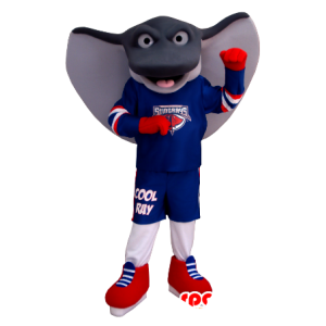 Mascot giant stingray, gray and white, in sportswear
