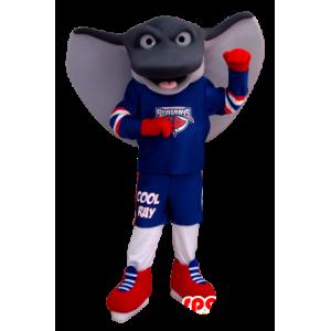 Mascot reus pijlstaartrog, grijs en wit, in sportkleding