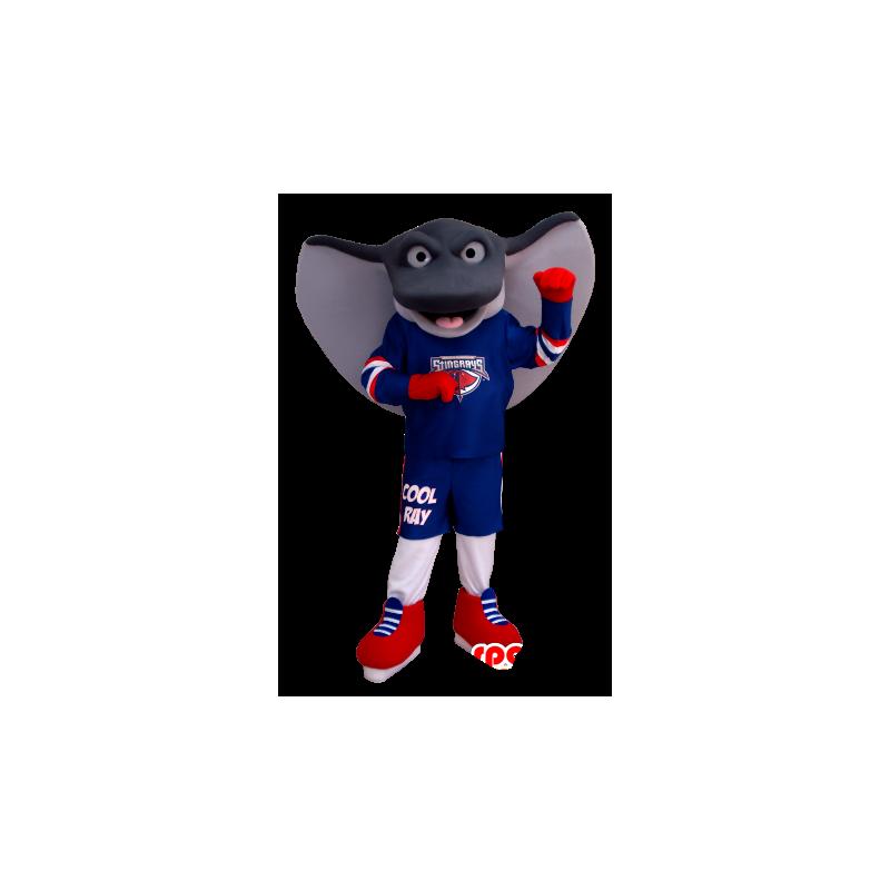 Mascot giant stingray, gray and white, in sportswear - MASFR20350 - Sports mascot