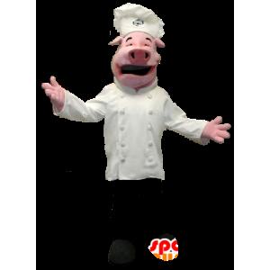Gris maskot kledd i kokk