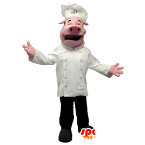 Maiale mascotte vestita in chef