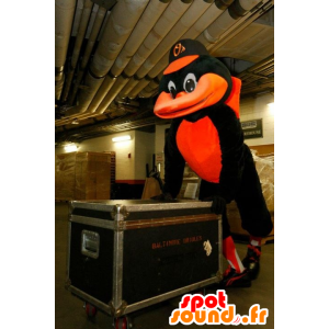 Black and orange raven mascot - MASFR20359 - Mascot of birds