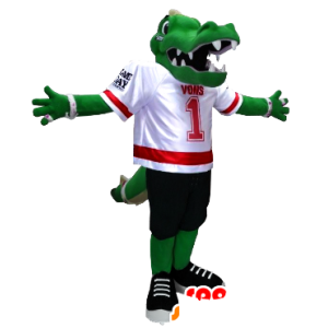 Mascote crocodilo verde vestida no futebol
