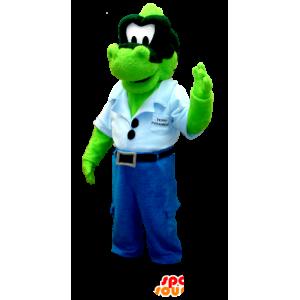 Grünen Dinosaurier Maskottchen Jeans mit einem blauen T-Shirt - MASFR20368 - Maskottchen-Dinosaurier