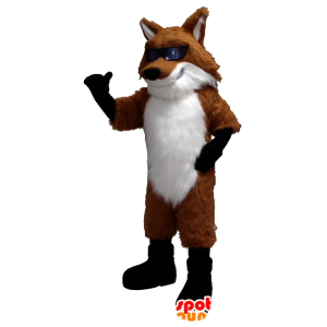 Fox mascot orange, white and black with glasses