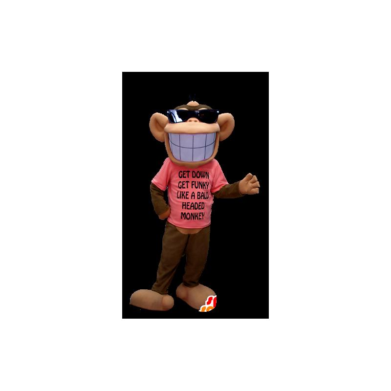 Brązowy i czarny małpa Maskota, z szerokim uśmiechu - MASFR20373 - Monkey Maskotki