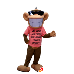 Brown and beige monkey mascot, with a broad smile - MASFR20373 - Mascots monkey