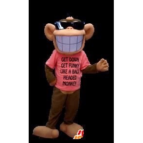 Mascotte de singe marron et beige, avec un large sourire - MASFR20373 - Mascottes Singe
