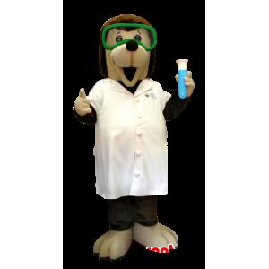 Cão mascote científica, marrom e blusa bege - MASFR20375 - Mascotes cão