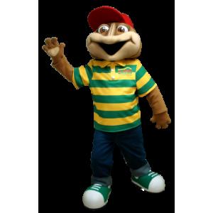 Brązowy żaba maskotka z paski polo