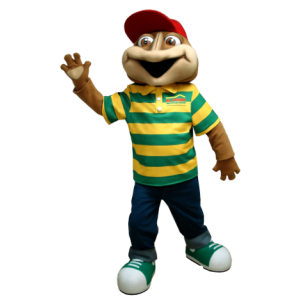 Brown frog mascot with a striped polo