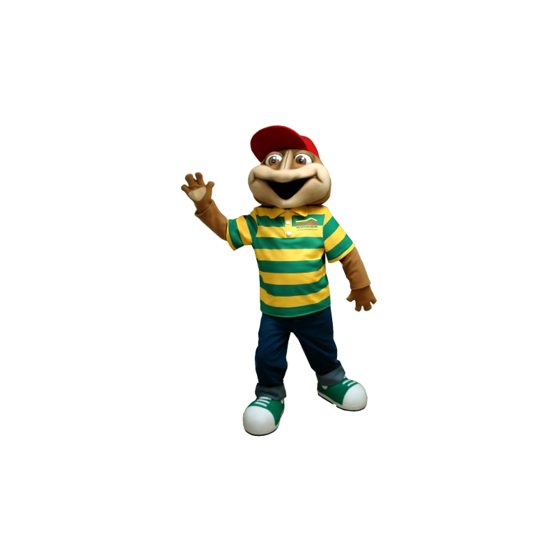 Brown frog mascot with a striped polo - MASFR20382 - Mascots frog
