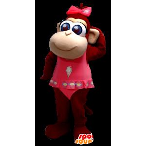 Maskotti söpö ruskea apina sinisilmäinen