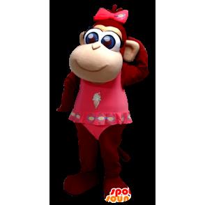 Mascotte de joli singe marron aux yeux bleus - MASFR20384 - Mascottes Singe