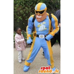 Superhero mascota en el vestido azul y amarillo - MASFR20395 - Mascota de superhéroe