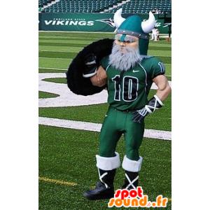 Bearded vichingo mascotte vestita di abbigliamento sportivo