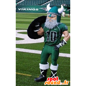 Bearded Viking mascot dressed in sportswear