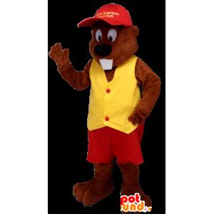 κάστορας μασκότ ντυμένη στα κόκκινα και κίτρινα
