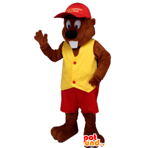 Beaver mascot dressed in red and yellow