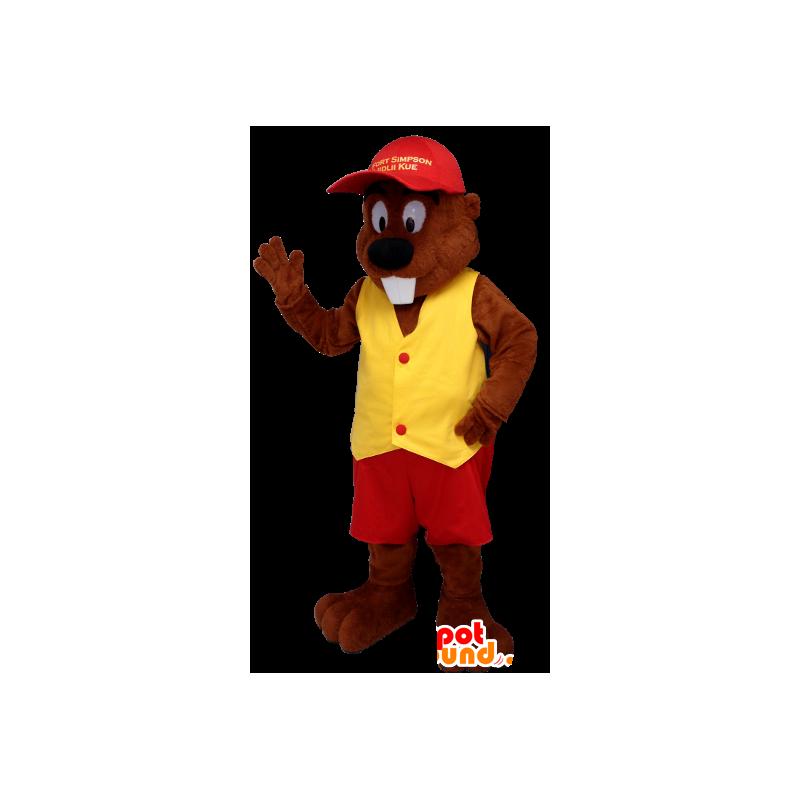 mascotte  Acquista Beaver mascotte vestita di rosso e giallo in Castori mascotte