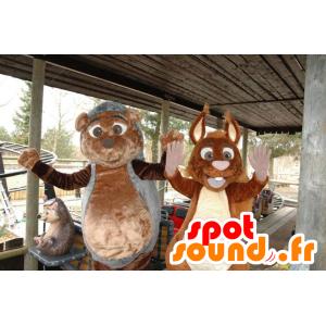 Μασκότ Hedgehog και σκίουρος