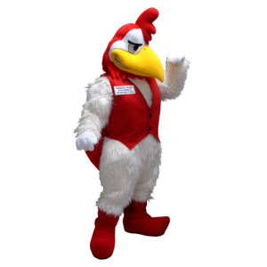 White and red rooster mascot