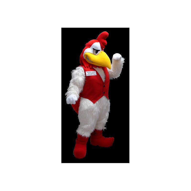 Mascotte de coq blanc et rouge - MASFR20402 - Mascotte de Poules - Coqs - Poulets