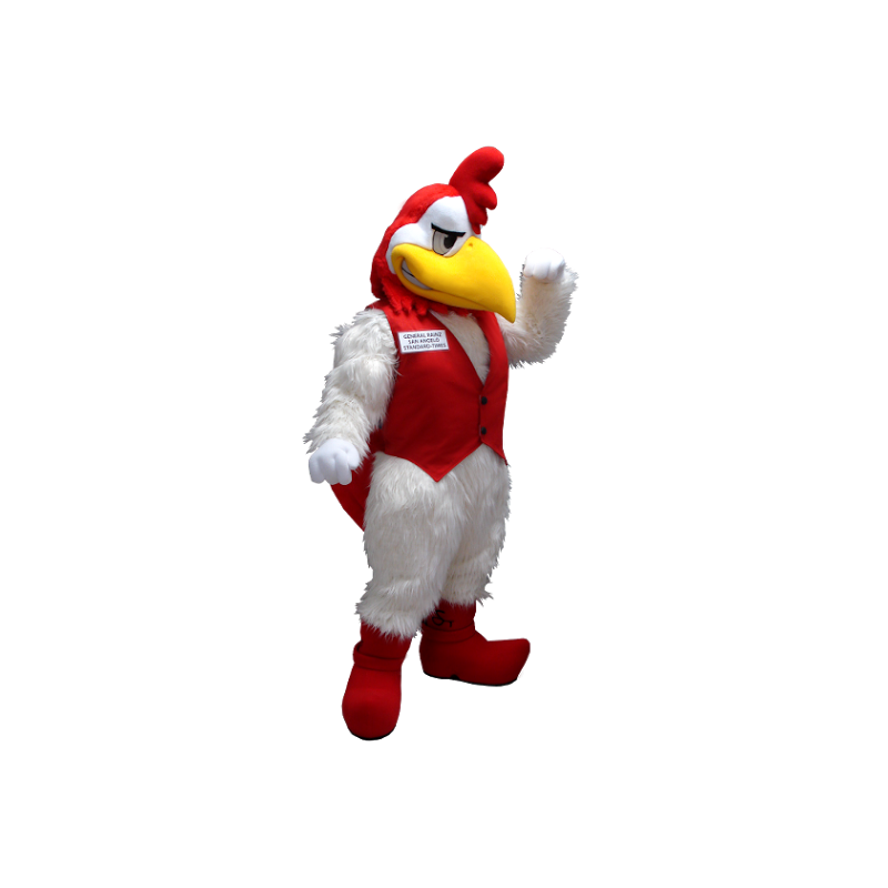 White and red rooster mascot - MASFR20402 - Mascot of hens - chickens - roaster
