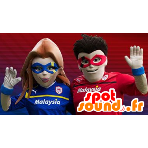 スーパーヒーローカップルのマスコット - MASFR20405 - スーパーヒーローのマスコット