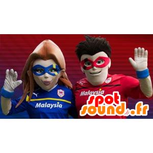 Superhero paar Maskottchen - MASFR20405 - Superhelden-Maskottchen