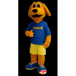 Orange hund maskot kledd i blått og gult - MASFR20406 - Dog Maskoter