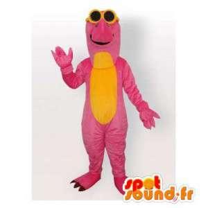 Mascotte de dinosaure rose et jaune. Costume de dinosaure