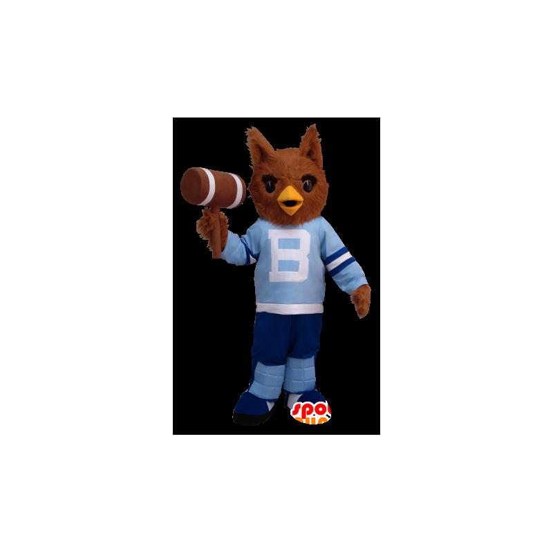 Brązowy sowa maskotka w niebieski strój - MASFR20418 - ptaki Mascot